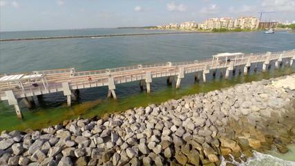 Aerial video Miami Beach fishing pier