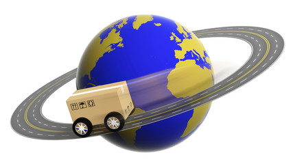 Earth circled by highway with box on wheels isolated