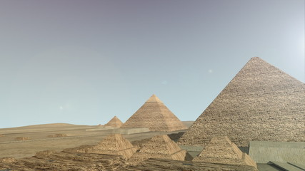 Zoom into a 3D animation of the Giza platform Egypt