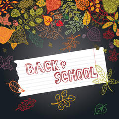 Back to school.Autumn leaves ,berries,paper on blackboard