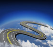 Road in the sky over the clouds and earth