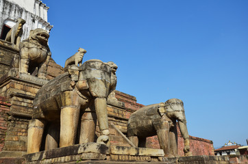 Statue of guarding elephants in Bhaktapur Durbar Square