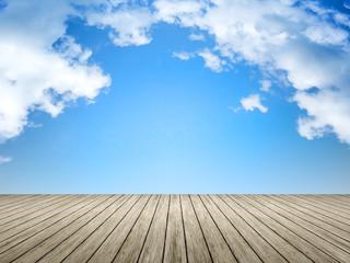 wooden jetty blue sky