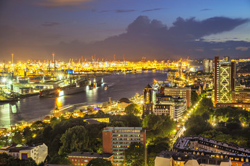 Aerial view on the port of Hamburg at the evening