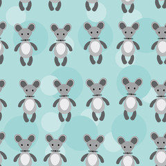 Seamless pattern with funny cute mouse animal on a blue backgrou