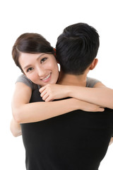Asian woman hug her boyfrien