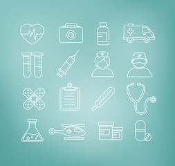 Medical Icons in Thin Line Design Style