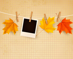 Autumn background with colorful leaves on rope. Vector illustrat