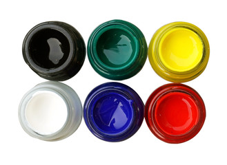 Top view of opened bottles color isolate on white background