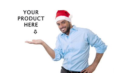 man in christmas santa hat showing blank copy space