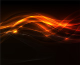 Fototapety Orange light wave on black background