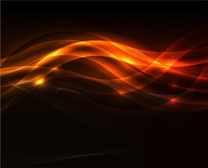 Orange light wave on black background