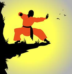 monaco shaolin si esercita su una rupe