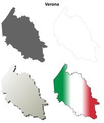 Verona blank detailed outline map set