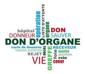 Nuage de mots sur le thème du don d'organe