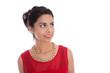 canvas print picture - Attraktive asiatische Frau in Rot: seitlicher Blick