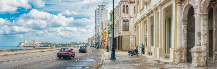 The skyline of Havana along Malecon avenue