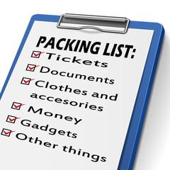 packing list clipboard