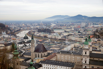 The view of Salzburg on Salzach river