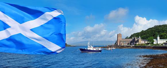 Scottish flag on Oban bay background