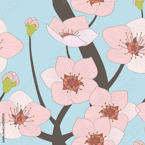 Cotton fabric blooming  tree