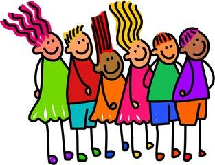 Queue of Happy Kids
