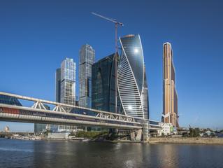 Город Москва. Мост Багратион. Деловой центр Москва-Сити