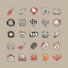 Doodle Cars Icons Set