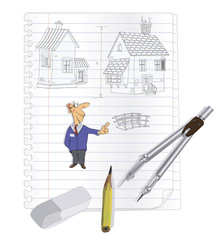 The person the architect with working tools