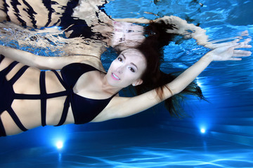 Beautiful woman with swimsuit underwater