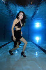 Woman with high heels underwater