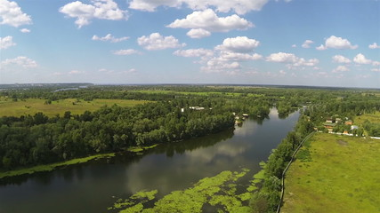 Up over  river  and  nice clouds .Aerial view