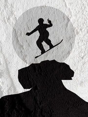 skateboarders silhouettes  on Cement wall texture background des