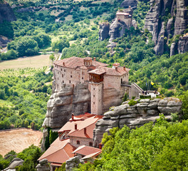 View on Meteora monastery in Trikala, Greece.
