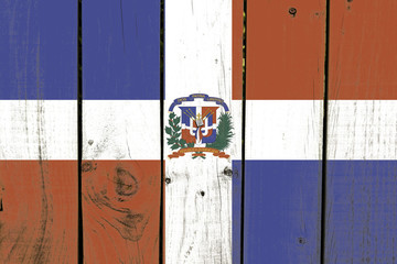 Dominican Republic flag on wooden background