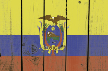 Ecuador flag on wooden background