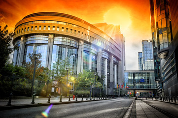 European Parliament building at sunset. Brussels, Belgium