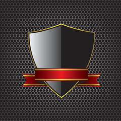 Metal textures and shield illustration background