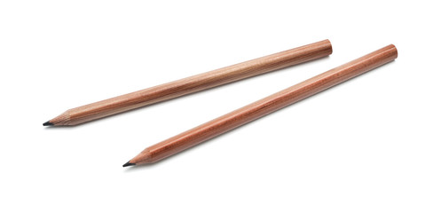 two wooden pencil on a white background