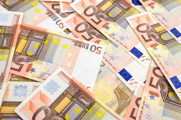 background of fifty euro banknotes