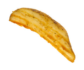 Cooked potato wedge on white background