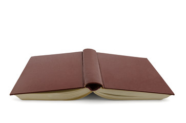 inverted open book isolated on white background