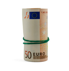 roll of fifty euro banknotes isolated on white background