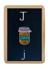 letter J on blackboard