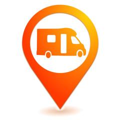 camping car sur symbole localisation orange