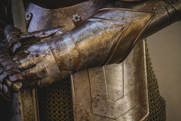 metal gloves, medieval armor made of wrought iron