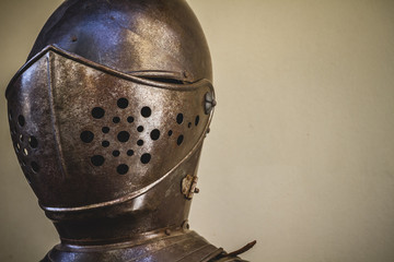 helmet head, medieval armor made of wrought iron