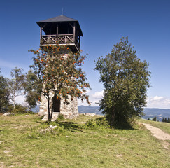 look-out tower on Martakov kopec in Javorniky Mts.