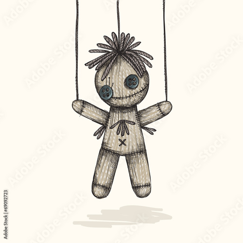 Spooky Voodoo Doll In A Sketch Style - 69092723