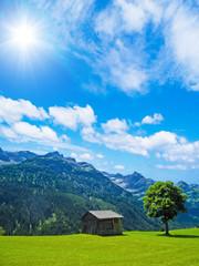 Hütte, Alm und Berge
